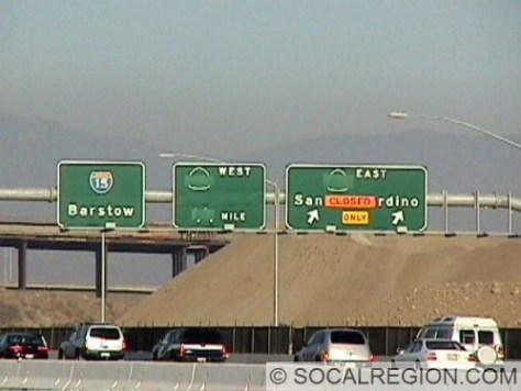 New signs (June 1999) showing SR-30 underneath the greenout. These are on I-15 northbound.