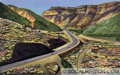 Postcard view of Piru Gorge circa 1930's.