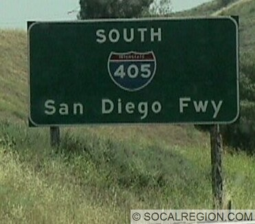 One of the few remaining signs for the named freeways in LA. This one is at the north end of the 405.