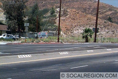 Section of original 1939 curbing on Sierra Highway at Solemint Junction. This is the last remaining piece of old Solemint Junction.