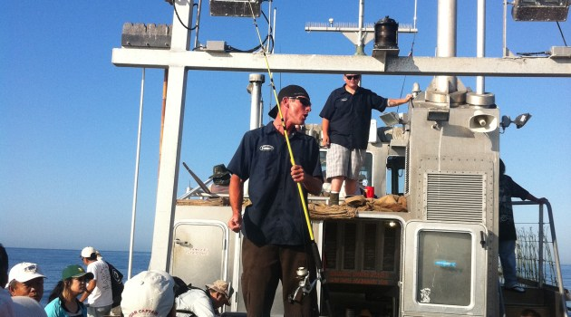 Deckhand Eric Ullman gives the Fishing 101 class on the New Del Mar