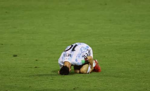 Lionel Messi on receiving end of horror tackle in Argentina win