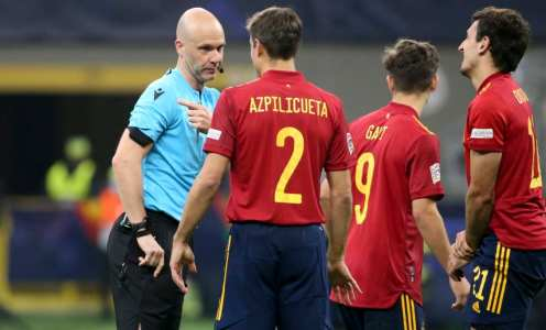 Spain players furious after Kylian Mbappe's 'offside' winner in Nations League final
