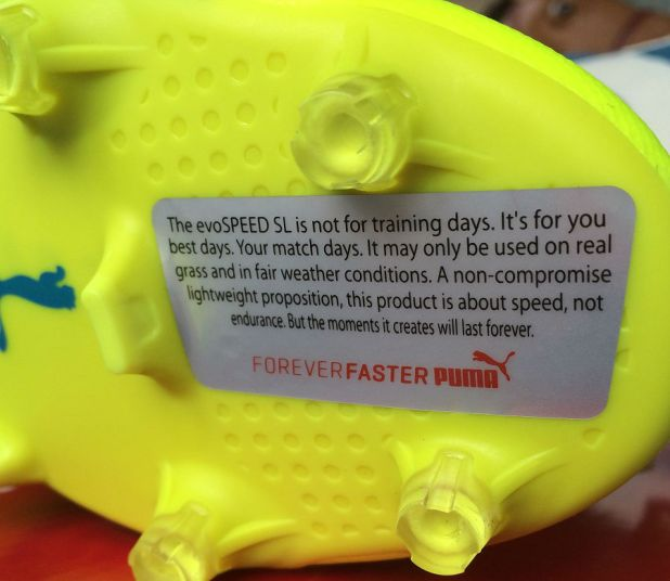 evoSPEED SL Safety Yellow Disclaimer