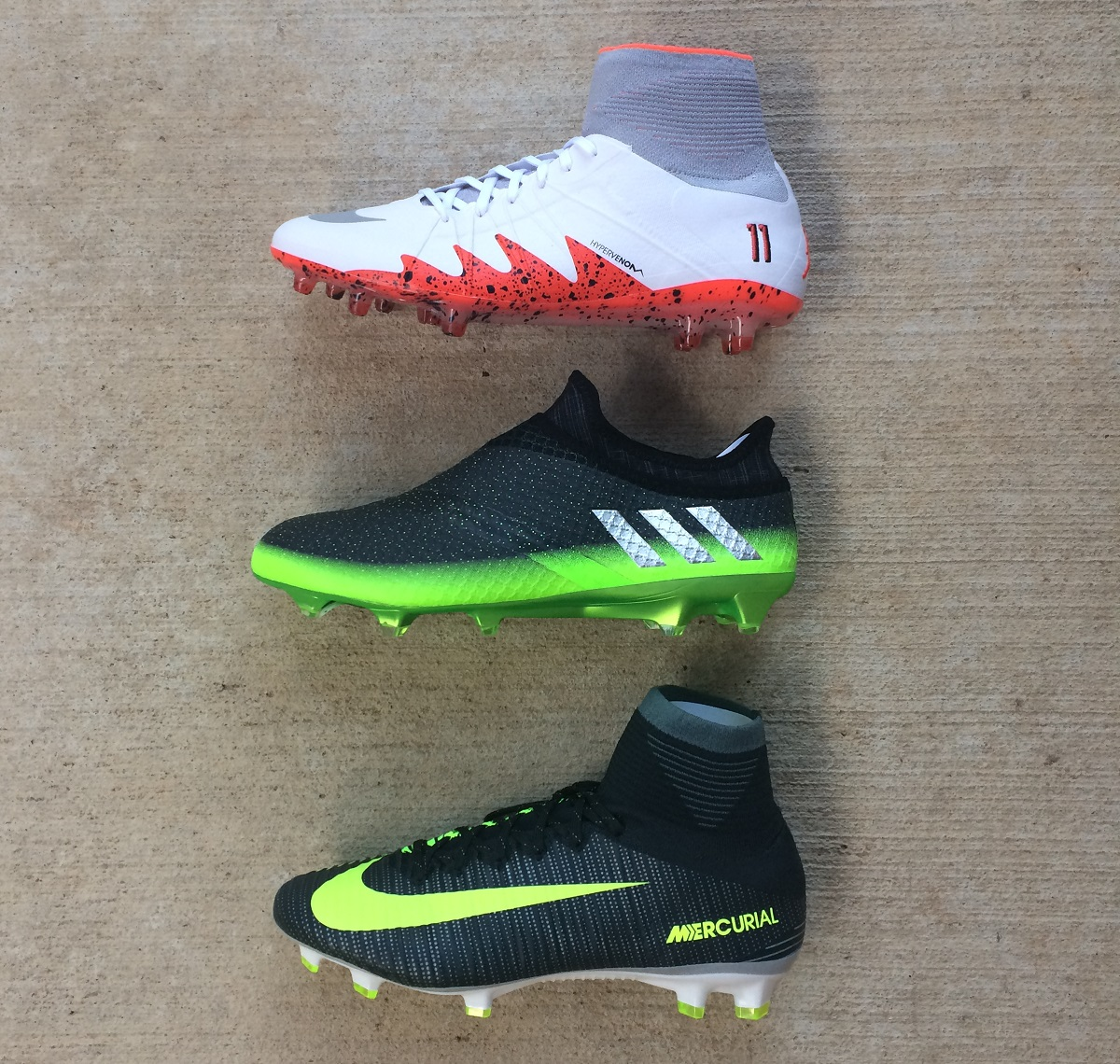 Find all three currently available at soccer.com. neymar-messi-ronaldo -boot-lineup