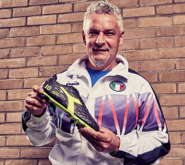 Roberto Baggio With Diadora Boots