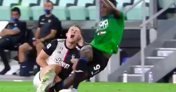 Juventus star De Ligt left in agony after accidental stamp right where it hurts