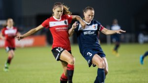Alex Morgan and Christie Rampone playing for their clubs