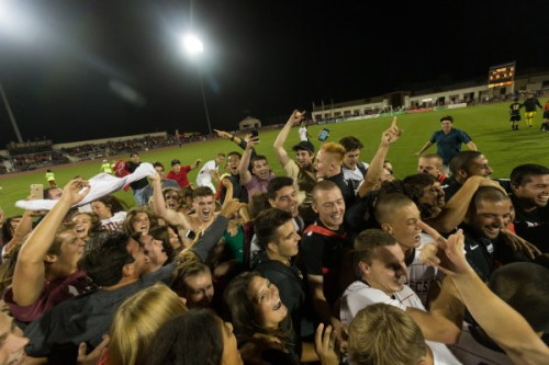 SDSU students and players join in celebration on September 2, 2016, after the Aztecs 1-0 win over Akron