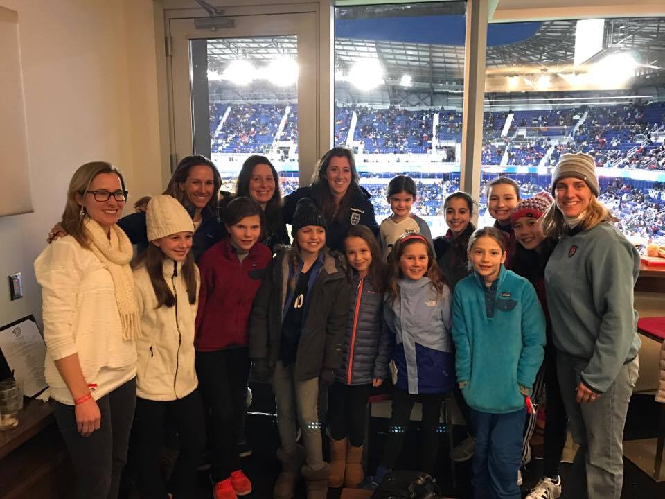 Image: Susie DeLellis Petruccelli with friends and fellow soccer fans