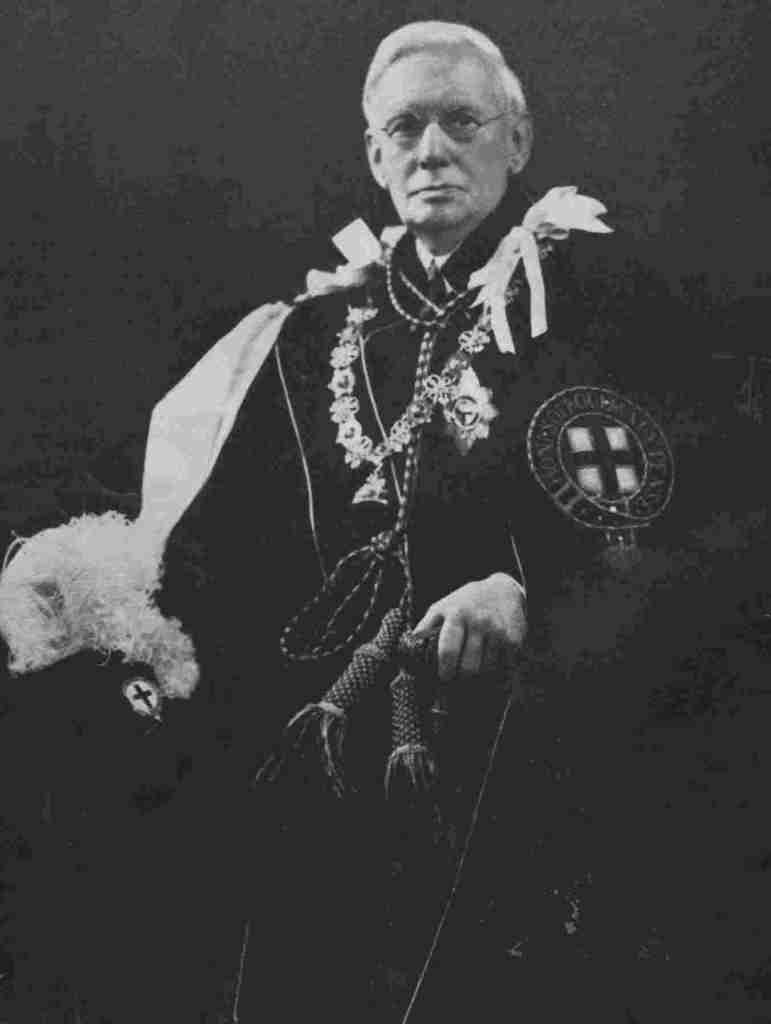 Viscount Addison in the robes of the Order of the Garter