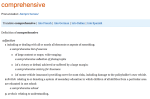 "Definition of ""comprehensive"" in the OED"