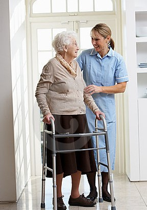 Nurse, old lady and Zimmer frame