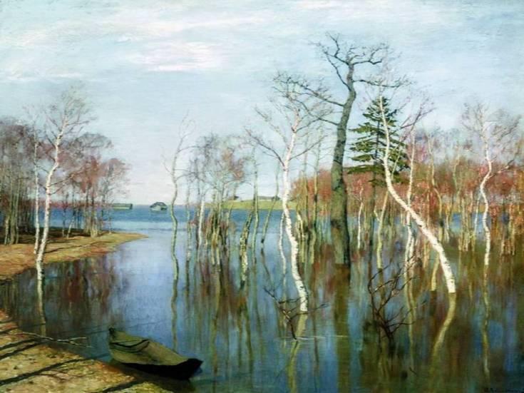 весна на картине Левитана Большая вода затопила всю округу