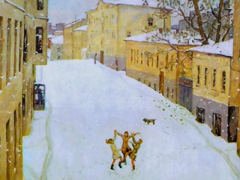 первый снег в небольшом городе на картине Попова