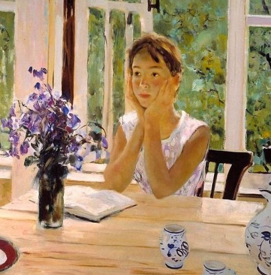 Верочка с книгой на веранде на картине Мыльникова