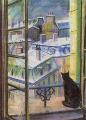черный кот на окне напротив городских домов