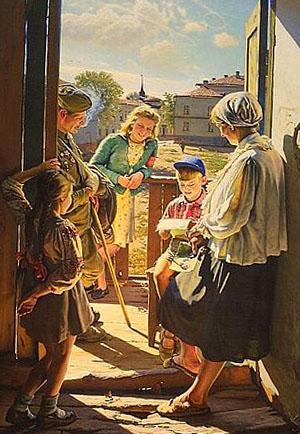 письмо с фронта получили мальчик и его мама на картине Лактионова