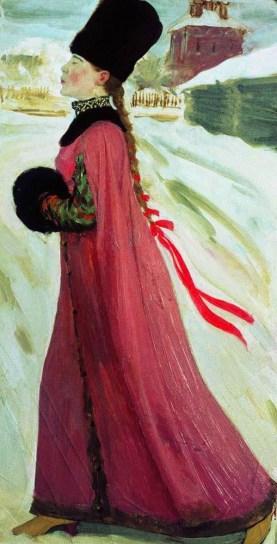 московская девушка 17 века в зимней одежде на картине Рябушкина
