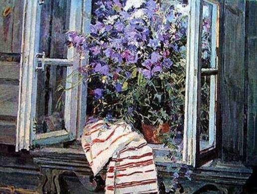 колокольчики лесные в вазе на подоконнике дома на картине Жолток В.К.