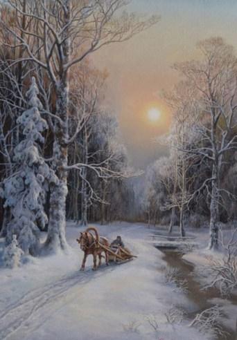 мороз в заснеженном лесу на картине Сатарова