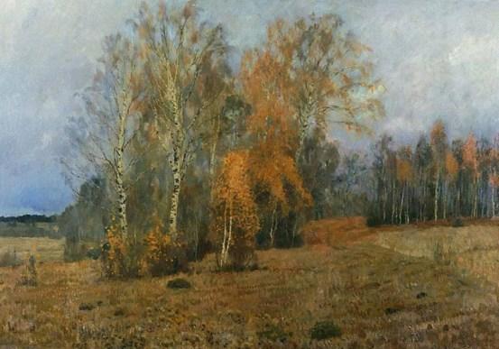 березовая роща осенью в октябре на картине Левитана
