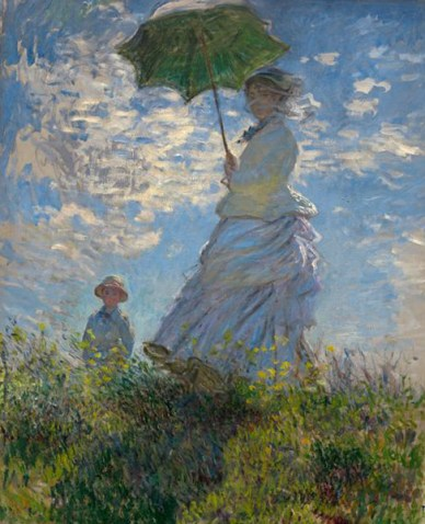 дама с зонтиком на прогулке с сыном на картине Клода Моне