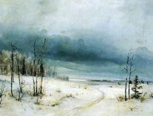 зима на русской равнине на картине Саврасова