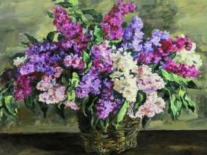 разноцветная сирень в корзине на картине Кончаловского