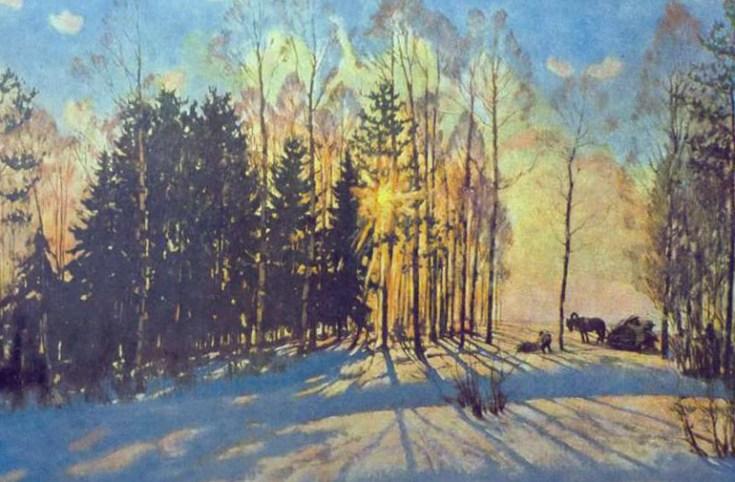 зимнее солнце в заснеженном лесу на картине Юона