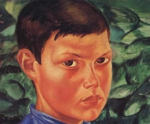 портрет загорелого мальчика-подростка на картине Петрова-Водкина