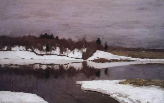 ранняя весна на берегах реки на картине Левитана