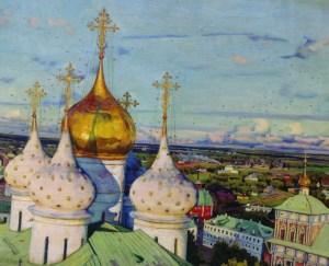 золотисто-белые купола и ласточки на картине Юона