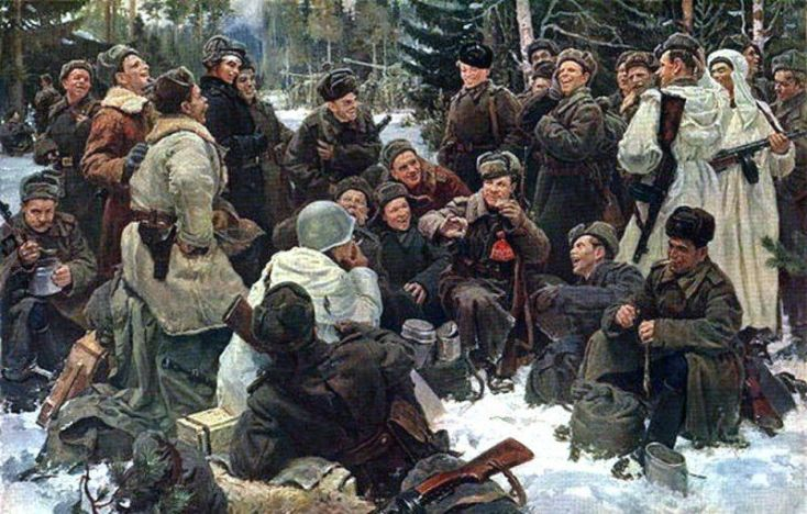 отдых после боя в зимнем лесу на картине Непринцева