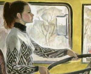 водитель троллейбуса Валя на картине В.А.Репки