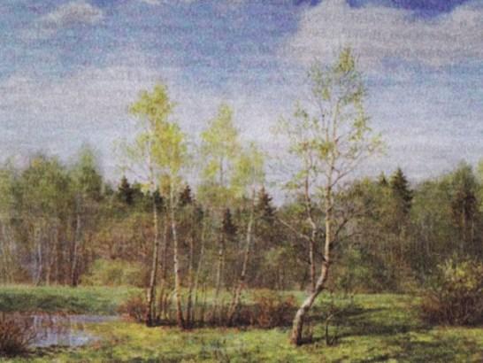 первая зелень на деревьях и кустах на картине Никонова