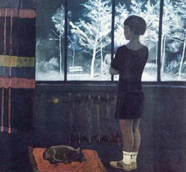 девочка у окна смотрит, как зима всё укрыла снегом на картине Дейнеки