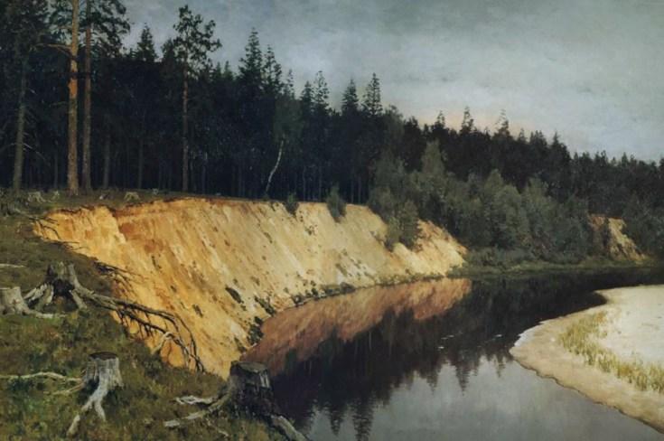 лесистый берег и река на картине Левитана