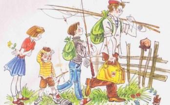 малыша отец с братом не взяли на рыбалку на рисунке Поповича