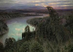 северный край с лесами и реками на картине Васнецова