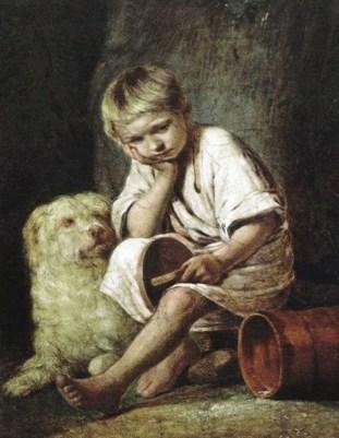 вот-те раз: мальчик уронил батькин обед на картине Веницианова