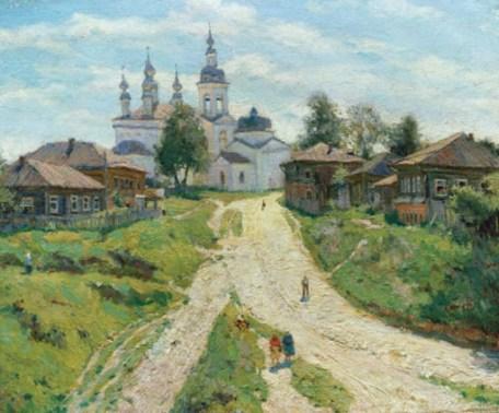 Церковь и дома в городе Плес на картине Глазунова