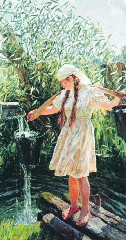 девушка в роднике набирает воду на картине Пластова