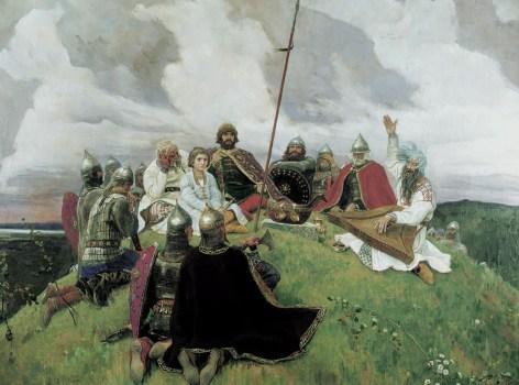 на картине Баян Васнецова старец рассказывает былины князю и его дружине