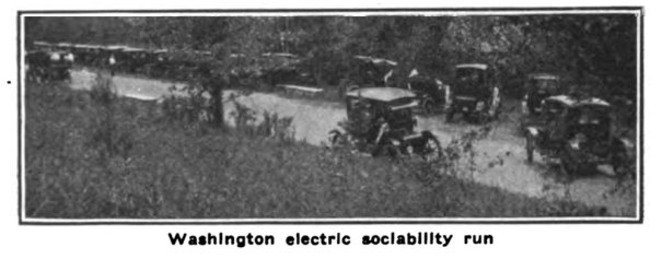 Electric cars parked for the 1914 Electric Sociability Run picnic.