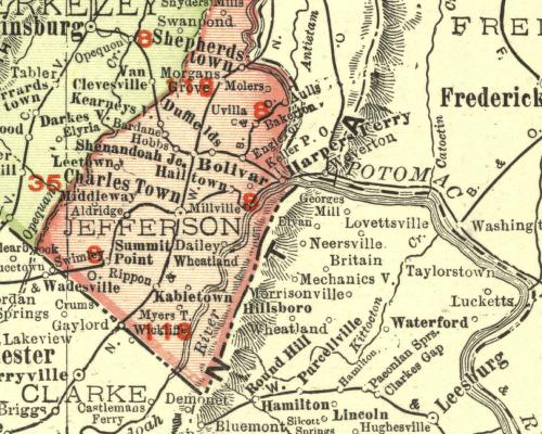 1914 Map of Jefferson Co. WV