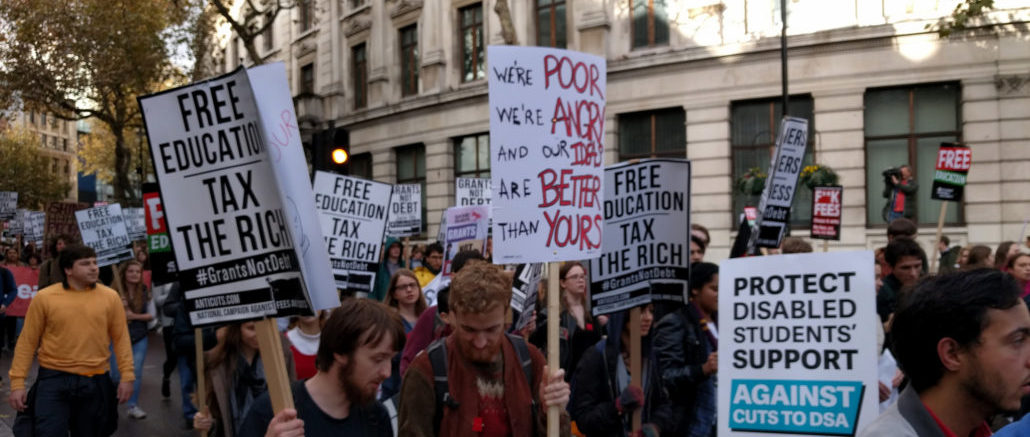 The recent USS Pension Strike in the UK has revealed the ways in which private firms profit from higher education and how the marketisation of education is turning both universities and students into debtors.