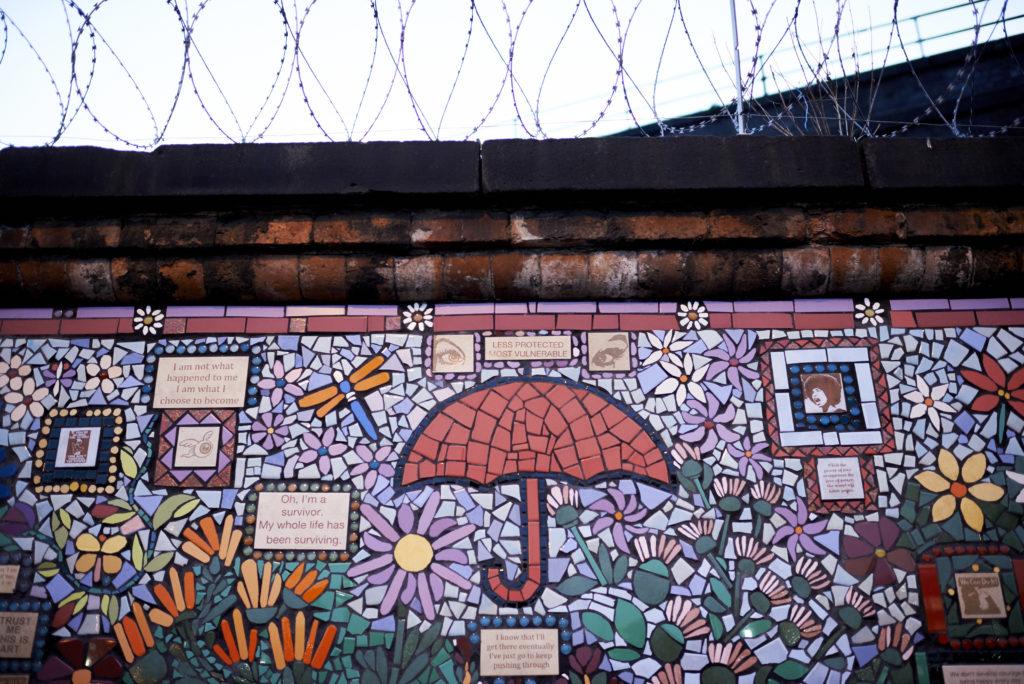 Red umbrella mosaic