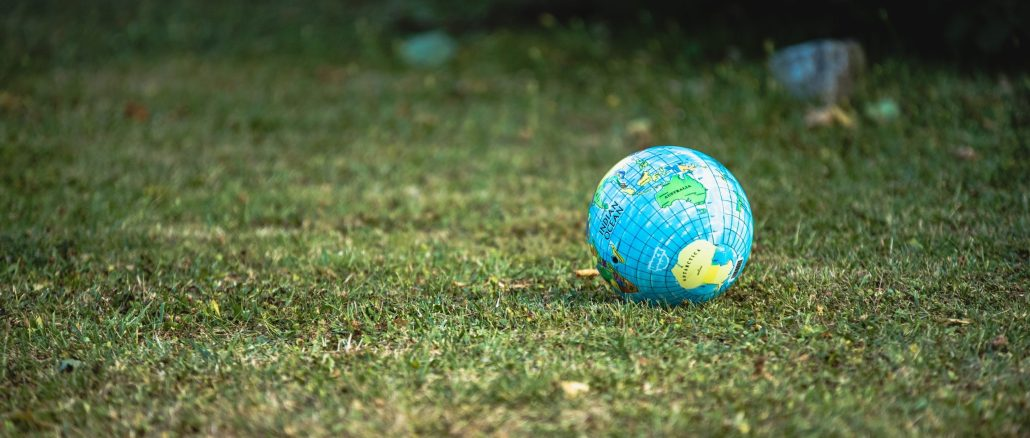 Image of a globe, lying on grass.