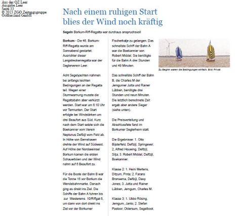 Nordseeregatta 2015 Pressebericht OZ 130515